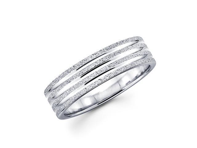 Solid 14k White Gold Ladies Mens Sand / Satin Finish Wedding Ring Band 6MM Size 8.5