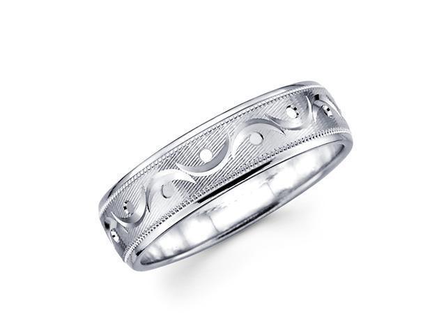 14k White Gold Ladies Mens Satin Milgrain Unique Diamond Cut Design Wedding Ring Band 6MM Size 10.5