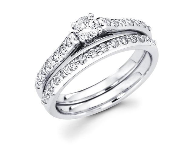 14k White Gold Solitaire Round Diamond Bridal Engagement Ring Set w/ Matching Channel Set Wedding Band (.92 cttw, 2/5 ct Center, G-H Color, SI1 Clarity)