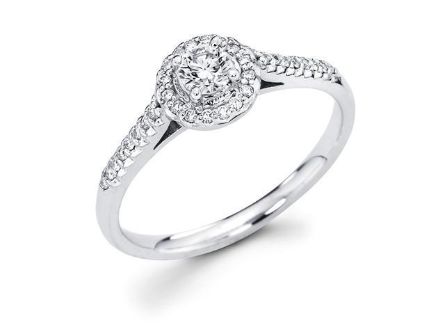 14k White Gold Cirque Halo Solitaire Round Diamond Engagement Ring w Micro P
