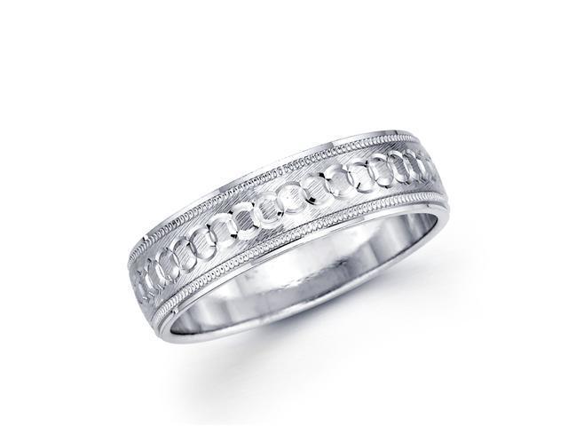 Solid 14k White Gold Ladies Mens O Link Satin Milgrain Design Unique Wedding Ring Band 6MM Size 7.5