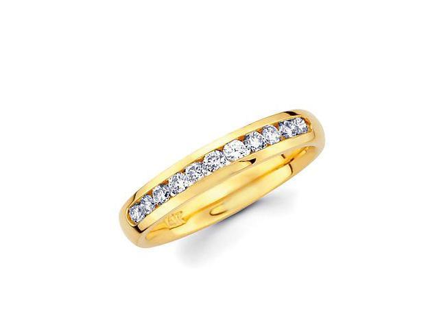 14k Gold Channel Set 9 Nine Round Diamond Wedding Ring Band 1/3ct (G-H Color, SI2 Clarity)