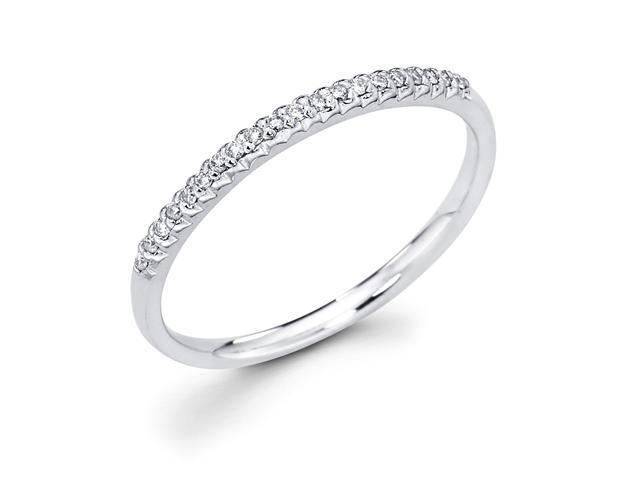 14k White Gold Micro Pave Set 20 Round Diamond Wedding Anniversary 1.9mm Ring Band (1/10 cttw, G-H Color, SI1 Clarity)