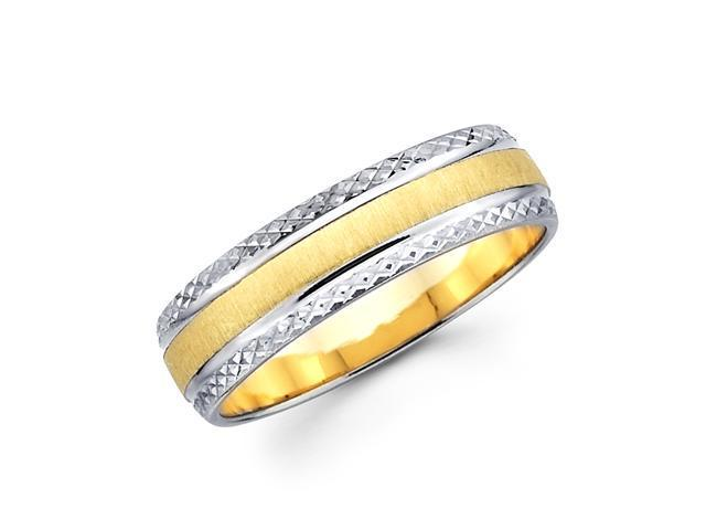 Solid 14k Yellow and White 2 Tone Gold Mens Satin Diamond Cut Design Wedding Ring Band 6MM Size 7.5