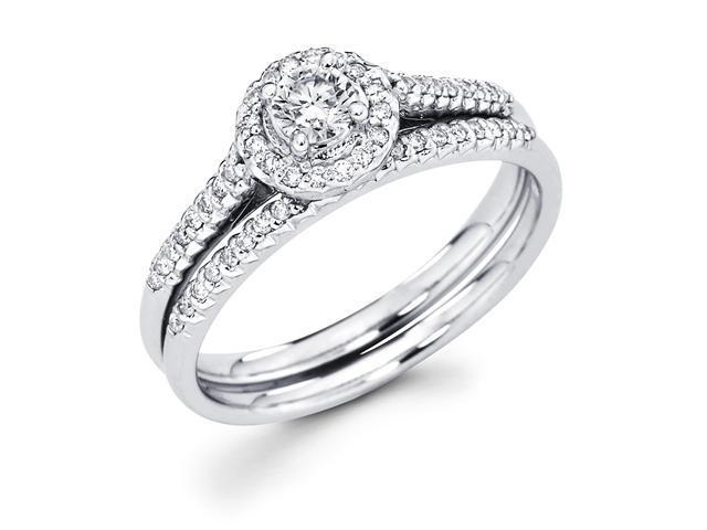 14k White Gold Cirque Halo Solitaire Round Diamond Bridal Engagement Ring Set w/ Matching Micro Pave Set Wedding Band (.46 cttw, 1/5 ct Center, G-H Color, SI1 Clarity)