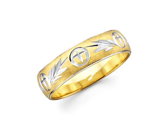 Solid 14k Yellow and White Two 2 Tone Gold Womens Cross Diamond Cut Wedding Ring Band 4MM Size 7.5