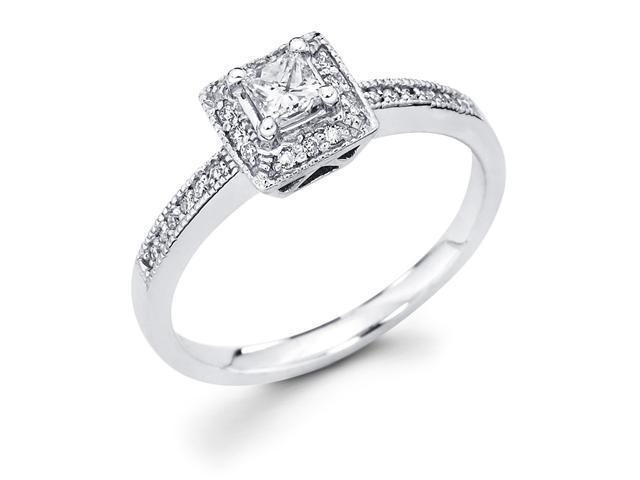 14k White Gold Princess Cut Diamond Engagement Ring w/ Round Channel Set Diamond Side Stones (1/3 cttw, 1/5 ct Center, G-H Color, SI1 Clarity)