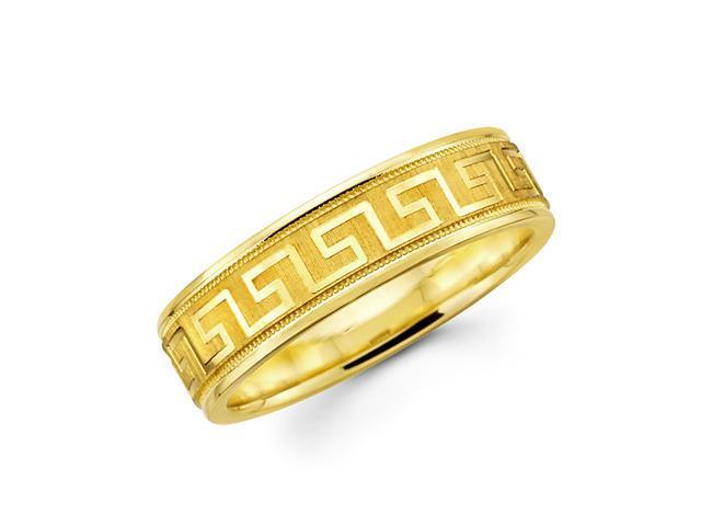 Solid 14k Yellow Gold Ladies Mens Greek Design Satin Polish Wedding Ring Band 6MM Size 9.5