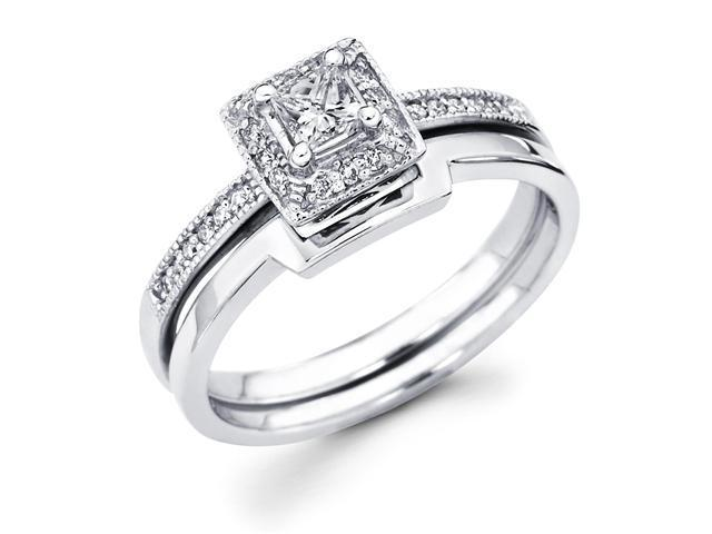 14k White Gold Solitaire Princess Cut Diamond Bridal Engagement Ring Set w/ Matching Wedding Band (1/3 cttw, 1/5 ct Center, G-H Color, SI1 Clarity)