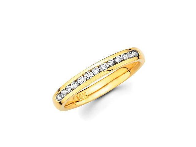 14k Gold Channel Set 13 Round Diamond Wedding Ring Band 1/4ct (G-H Color, SI2 Clarity)