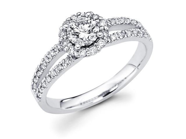14k White Gold Cirque Halo Solitaire Round Diamond Engagement Ring w/ Micro Pave Channel Set Diamond Side Stones w/ Split Band (4/5 cttw, 1/2 ct Center, G-H Color, SI1 Clarity)
