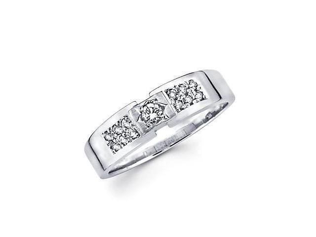 New 14k White Gold Mens Diamond Solitaire Wedding Ring Band .27ct (G-H Color, SI2 Clarity)