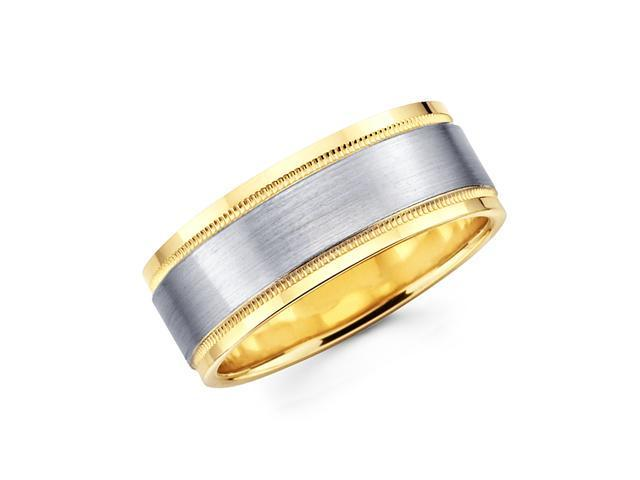 Solid 14k Yellow and White Two Tone Gold Mens High Polish Satin Wedding Ring Band 8MM Size 12