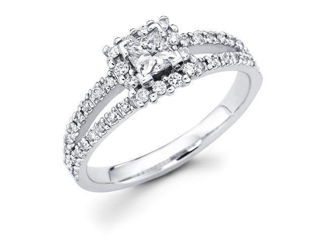 14k White Gold Princess Cut Diamond Engagement Ring w/ Round Channel Set Diamond Side Stones w/ Split Band (3/4 cttw, 2/5 ct Center, G-H Color, SI1 Clarity)