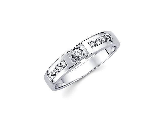 14k White Gold Womens Ladies Diamond Solitaire Wedding Ring Band .16 ct (G-H Color, SI2 Clarity)