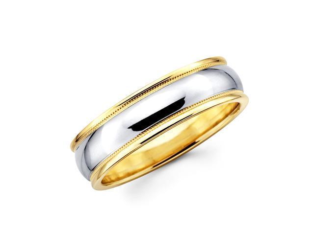 14k Yellow and White Two 2 Tone Gold Ladies Mens Milgrain High Polish Wedding Ring Band 6MM Size 6.5
