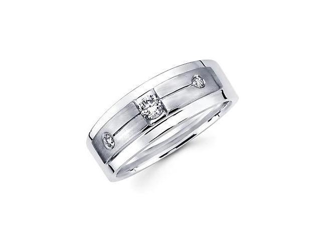 New 14k White Gold Mens Diamond Solitaire Wedding Ring Band .24ct (G-H Color, SI2 Clarity)