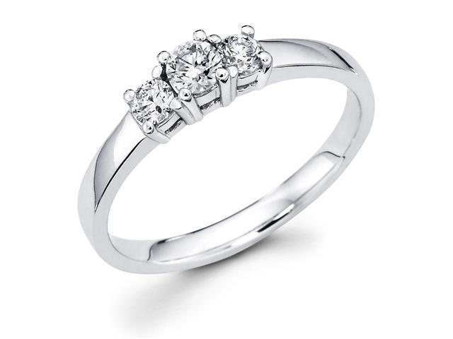 14k White Gold Three 3 Stone Round Diamond Engagement Anniversary Past Present Future Ring (1/3 cttw, G-H Color, SI1 Clarity)