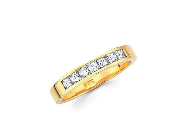 14k Gold Channel Set 9 Nine Princess Cut Diamonds Wedding Ring Band .85ct (G-H Color, SI1 Clarity)