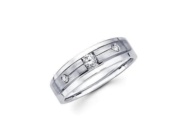 14k White Gold Womens Ladies Diamond Solitaire Wedding Ring Band .18 ct (G-H Color, SI2 Clarity)