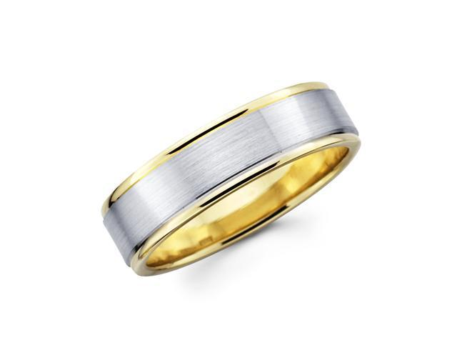Solid 14k Yellow and White Two Tone Gold Womens Satin and High Polish Wedding Ring Band 4MM Size 5.5
