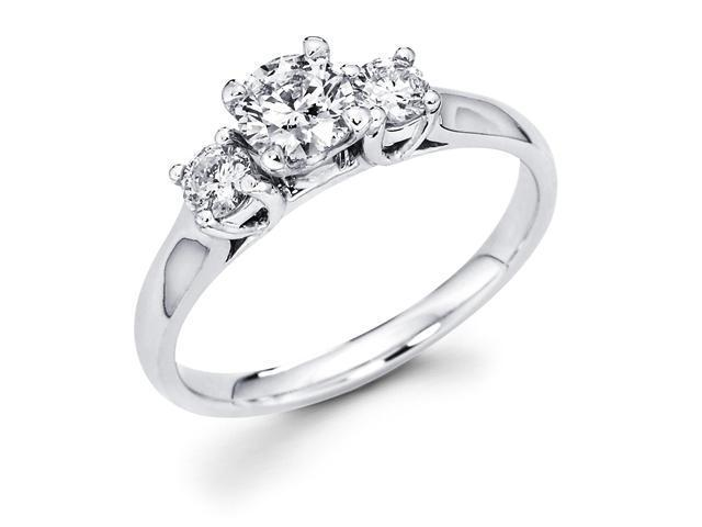 14k White Gold Three 3 Stone Round Diamond Engagement Anniversary Past Present Future Ring (3/4 cttw, G-H Color, SI1 Clarity)