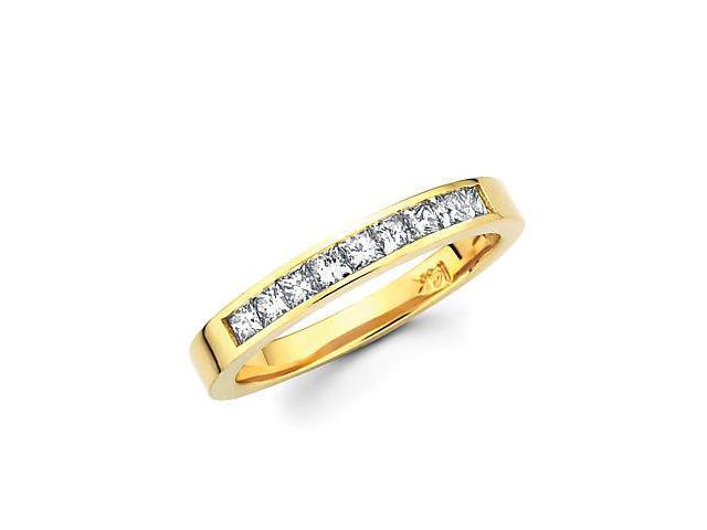 14k Gold Channel Set 9 Nine Princess Cut Diamonds Wedding Ring Band 2/3ct (G-H Color, SI1 Clarity)