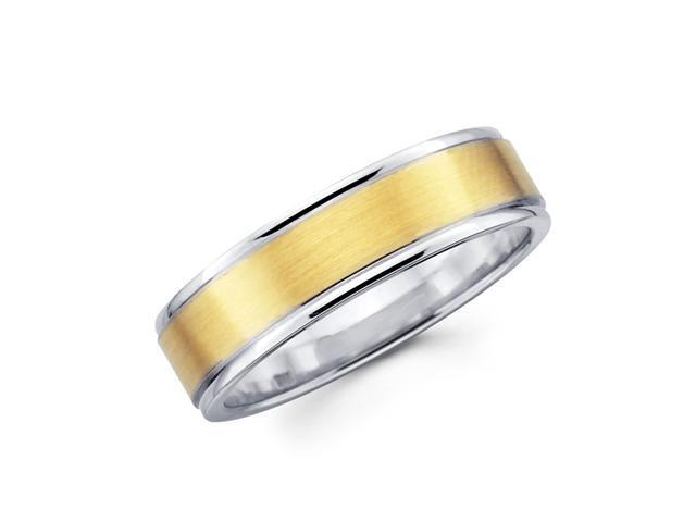 Solid 14k Yellow and White Two Tone Gold Unisex Satin and High Polish Wedding Ring Band 6MM Size 10