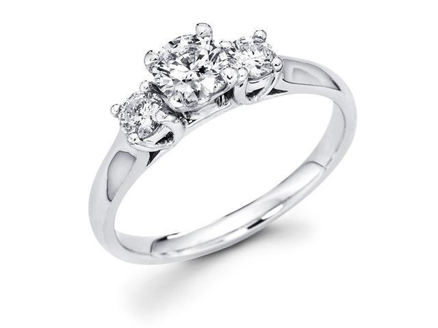 14k White Gold Three 3 Stone Round Diamond Engagement Anniversary Past Present Future Ring (3/5 cttw, G-H Color, SI1 Clarity)