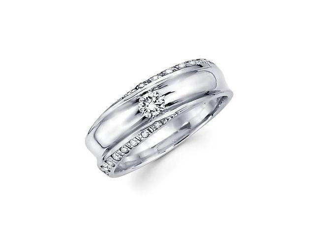 New 14k White Gold Mens Diamond Solitaire Wedding Ring Band .45ct (G-H Color, SI2 Clarity)