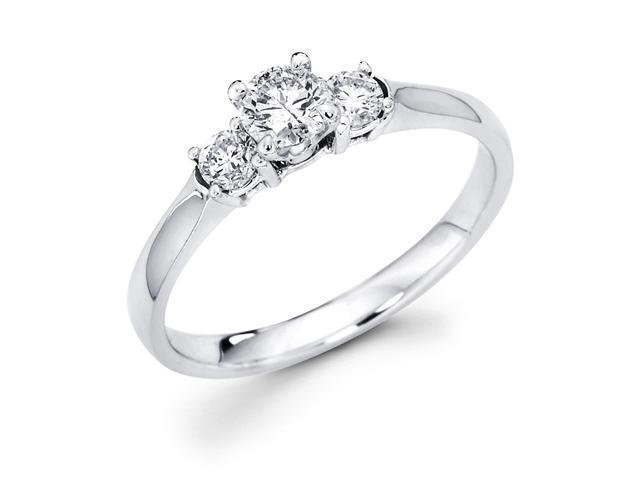14k White Gold Three 3 Stone Round Diamond Engagement Anniversary Past Present Future Ring (1/2 cttw, G-H Color, SI1 Clarity)