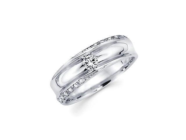 14k White Gold Womens Ladies Diamond Solitaire Wedding Ring Band .29 ct (G-H Color, SI2 Clarity)