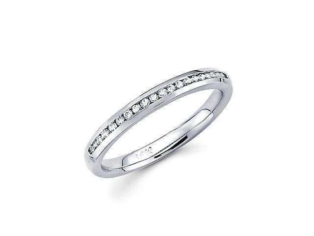 14k White Gold Channel Set 20 Round Diamond Ring Band .19ct (G-H Color, SI2 Clarity)