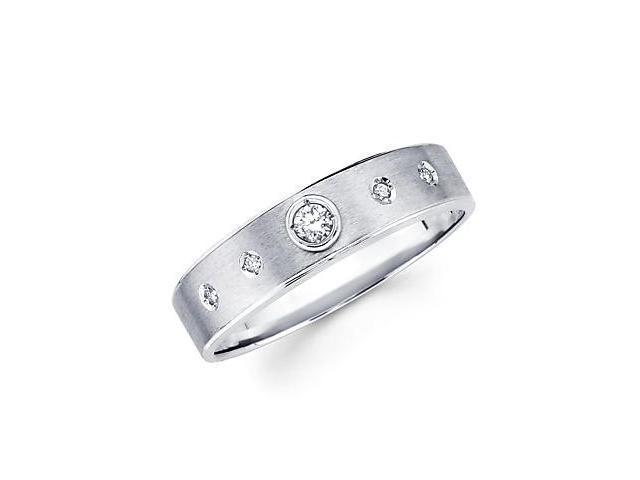 New 14k White Gold Mens Diamond Solitaire Wedding Ring Band .12ct (G-H Color, SI2 Clarity)
