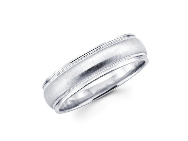 Solid 14k White Gold Ladies Mens Satin Milgrain High Polish Wedding Ring Band 6MM Size 7.5