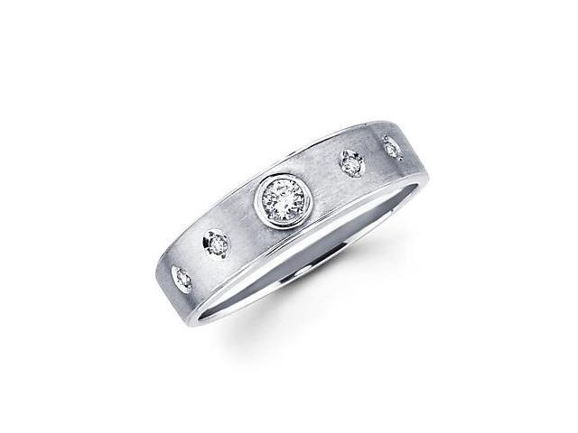 14k White Gold Womens Ladies Diamond Solitaire Wedding Ring Band .12 ct (G-H Color, SI2 Clarity)