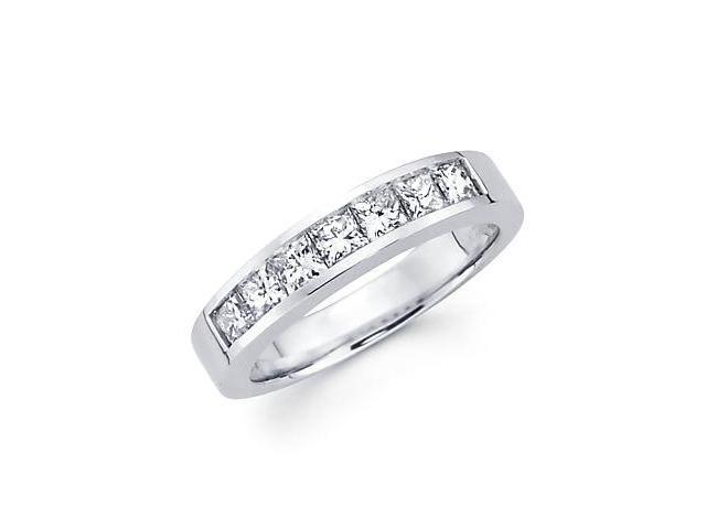 14k White Gold Princess Cut Channel Set Diamond Wedding Ring Band .97 Ct (G-H Color, SI1 Clarity)