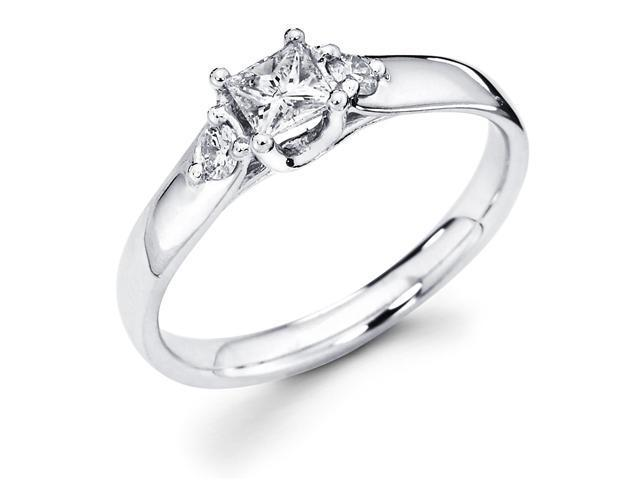 14k White Gold Three 3 Stone Princess Cut Center Diamond Engagement Anniversary Ring w/ Round Diamond Side Stones (2/5 cttw, G-H Color, SI1 Clarity)
