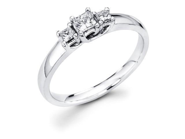14k White Gold Three 3 Stone Princess Cut Diamond Engagement Anniversary Past Present Future Ring (1/3 cttw, G-H Color, SI1 Clarity)