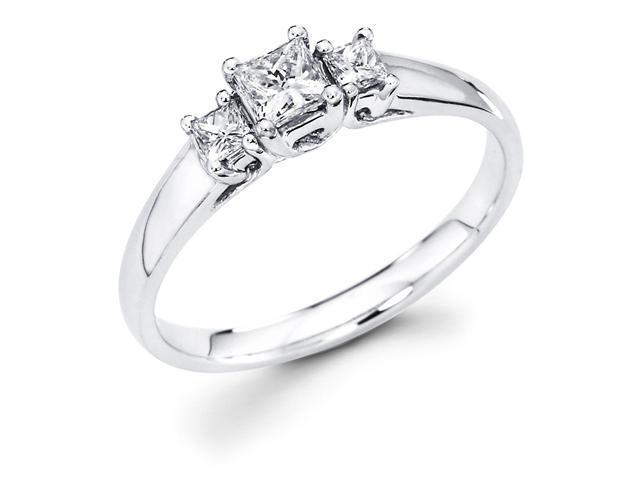 14k White Gold Three 3 Stone Princess Cut Diamond Engagement Anniversary Past Present Future Ring (2/5 cttw, G-H Color, SI1 Clarity)