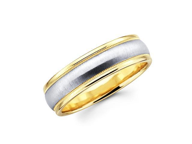 Solid 14k Yellow and White Two 2 Tone Gold Mens Satin Milgrain High Polish Wedding Band 6MM Size 9.5