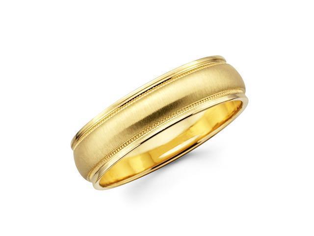 Solid 14k Yellow Gold Ladies Mens Satin Milgrain High Polish Wedding Ring Band 6MM Size 6.5