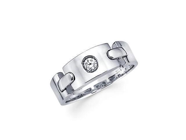 New 14k White Gold Womens Ladies Diamond Solitaire Ring Band .12 ct (G-H Color, SI2 Clarity)