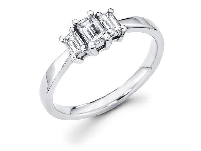 14k White Gold Three 3 Stone Emerald Cut Diamond Engagement Anniversary Past Present Future Ring (1/2 cttw, G-H Color, SI1 Clarity)