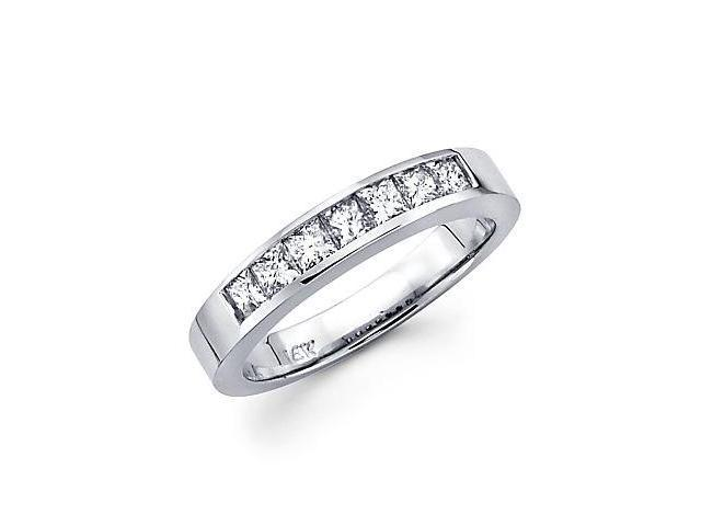 14k White Gold Princess Cut Channel Set Diamond Wedding Ring Band .85 Ct (G-H Color, SI1 Clarity)
