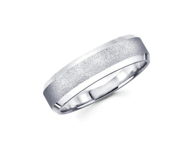 Solid 14k White Gold Ladies Mens Satin Middle With High Polish Ends Wedding Ring Band 6MM Size 6.5