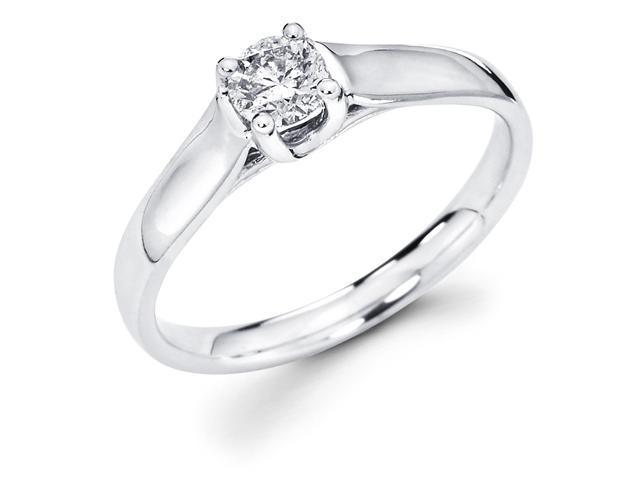 14k White Gold Classic Solitaire Round Diamond Engagement Ring (1/3 cttw, G-H Color, SI1 Clarity)