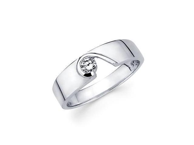 New 14k White Gold Womens Ladies Diamond Solitaire Ring .13 ct (G-H Color, SI2 Clarity)