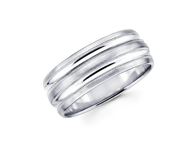 Solid 14k White Gold Mens Satin High Polish Milgrain Wedding Ring Band 8MM Size 9