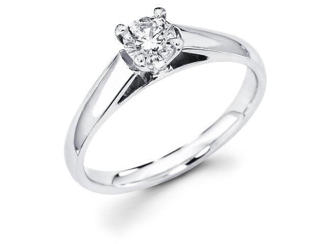 14k White Gold Classic Solitaire Round Diamond Engagement Ring (2/5 cttw, G-H Color, SI1 Clarity)